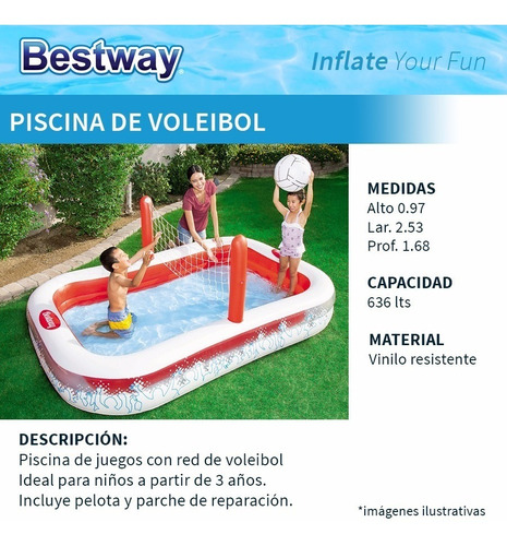piscina inflable voleibol con red de voley y pelota bestway