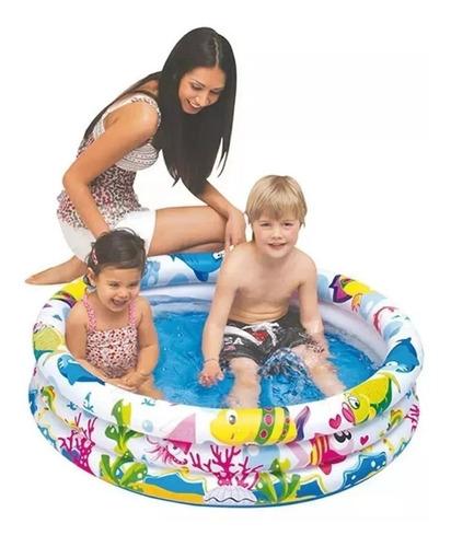 piscina inflável 100 litros 3 anéis fundo do mar
