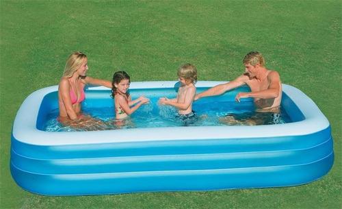 piscina inflável 1000 litros retangular com capa - intex