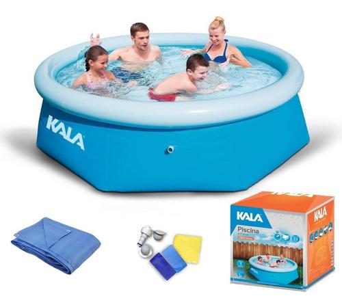 piscina inflável 2300 l kit reparo kala + capa
