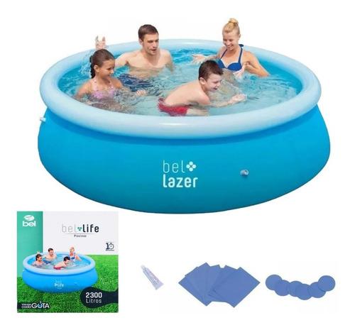 piscina inflável 2300 litros c/ kit reparo 100800 belfix