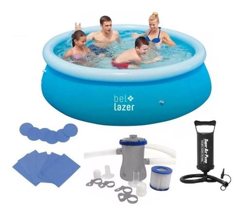 piscina inflável 2300 litros + filtro + bomba + kit reparo