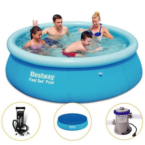 piscina inflável 2300 litros + filtro + capa + bomba bestway