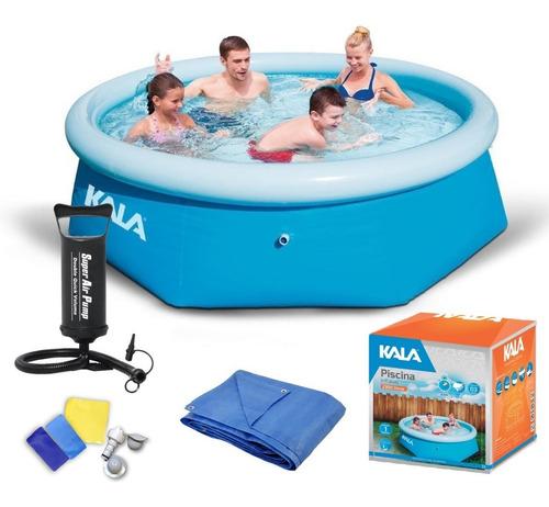 piscina inflável 2300l kit reparo kala + bomba + forro