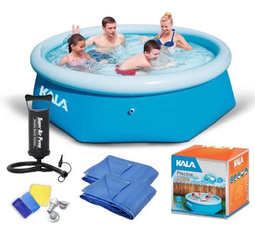 piscina inflável 2300l kit reparo kala + bomba + forro/capa