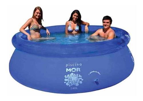 piscina inflável 2400 litros splash fun mor + bomba manual