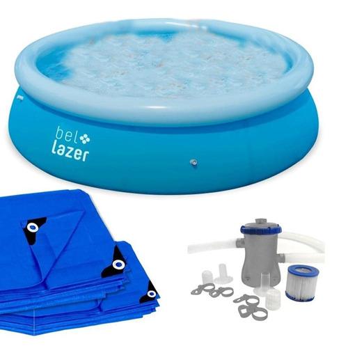 piscina inflável 4.600 litros com filtro 110v belfix