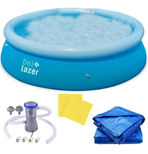 piscina inflável 4600l bomba, lona, capa kit adesivo belfix