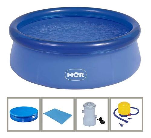 piscina inflável 4600l capa/forro/filtro/inflador 110v - mor