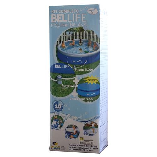 piscina inflável belfix 8200 litros + filtro + cobertura