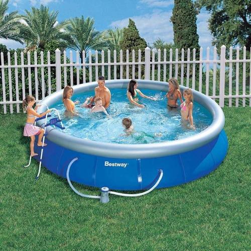 piscina inflável bestway 9.677l - escada capa filtro bomba