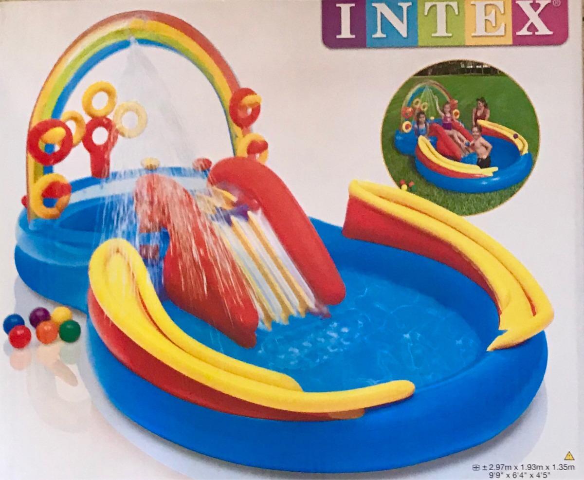 0e68bfd54 piscina inflável infantil playground arco-íris intex. Carregando zoom.
