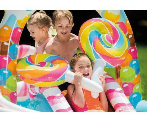 piscina inflável infantil playground candy zone 206 l intex
