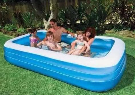 piscina inflável intex 1000 litros retangular + capa + bomba