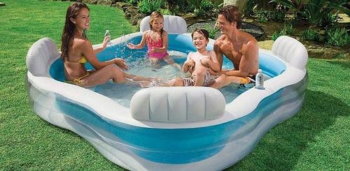 piscina inflável intex 1000l familiar c/ assentos porta copo