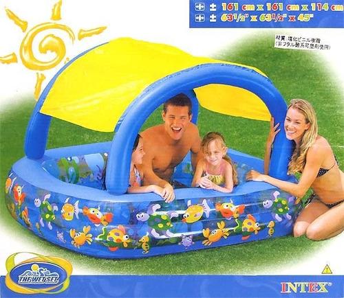 piscina inflável intex com toldo cobertura proteção 310l