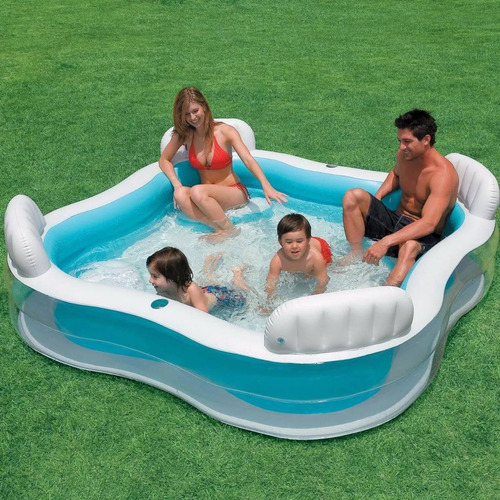 piscina inflável intex familiar c/assento porta copo 56475np