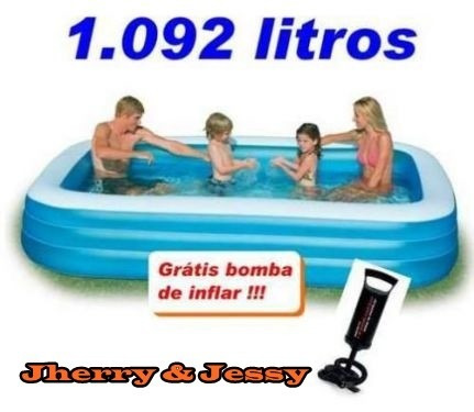 Piscina infl vel intex retangular familiar 1000lts lazer for Alberca familiar intex