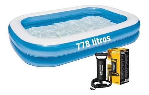 piscina  inflável retangular summer 1200l + inflador bomba