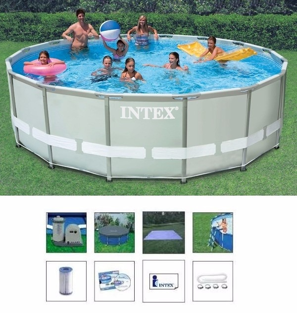Piscina intex 19156 l completa bomba filtro capa escada for Filtros bombas accesorios piscinas intex
