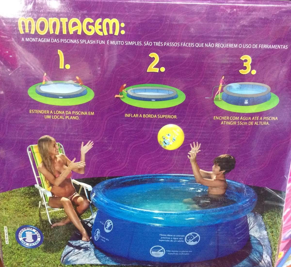Piscina mor 1000 litros facil de montar 1 65x55 para o for Calcular litros piscina