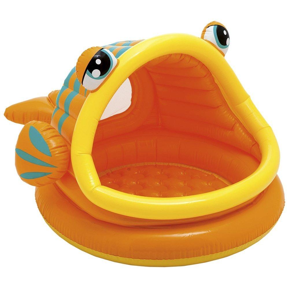 Piscina pelotero con techo en forma de pez inflable intex for Piscina inflable intex