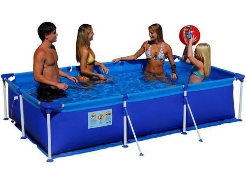 piscina premium 2500 litros mor com estrutura retangular