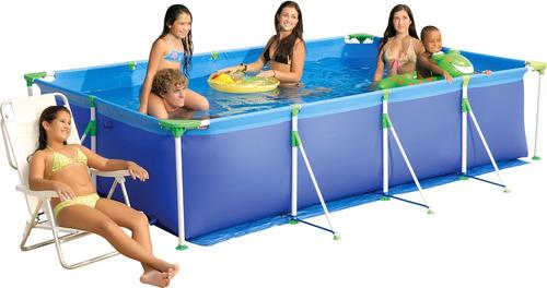 piscina premium retangular 5000 litros lona de pvc mor