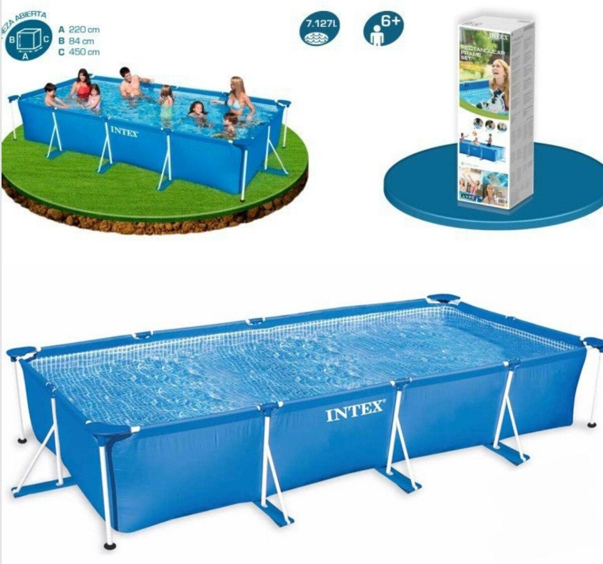 Piscinas armables retangular de 450x220x084 jardin juegos for Piscinas para jardin precios