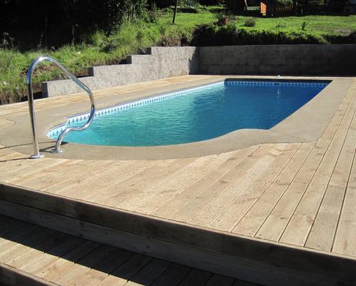 piscinas de fibra de vidrio, completamente equipadas.