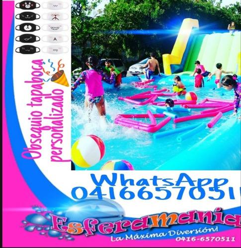piscinas malla elástica brinca brinca tobogán fiestas decora
