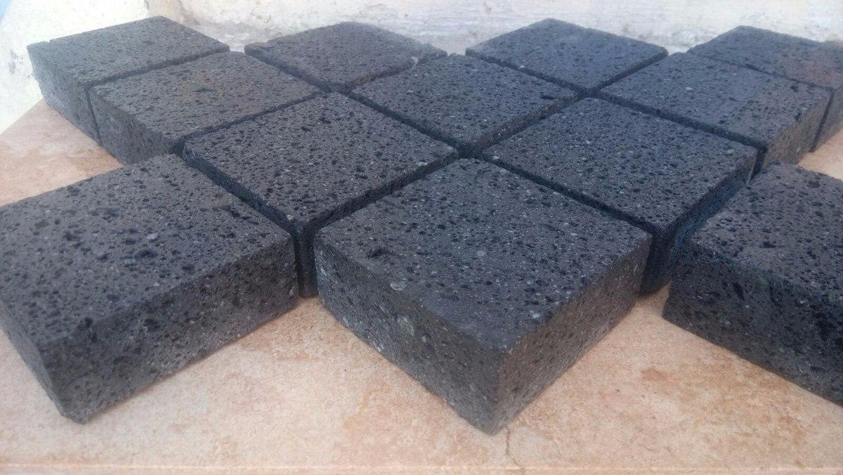 Piso adoquin de piedra natural recinto negro 10x10x4cm - Adoquin de piedra ...