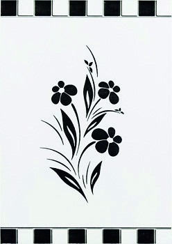 Piso Azulejo Cerâmico Decorativo Flor Preto Branco 3 Peças