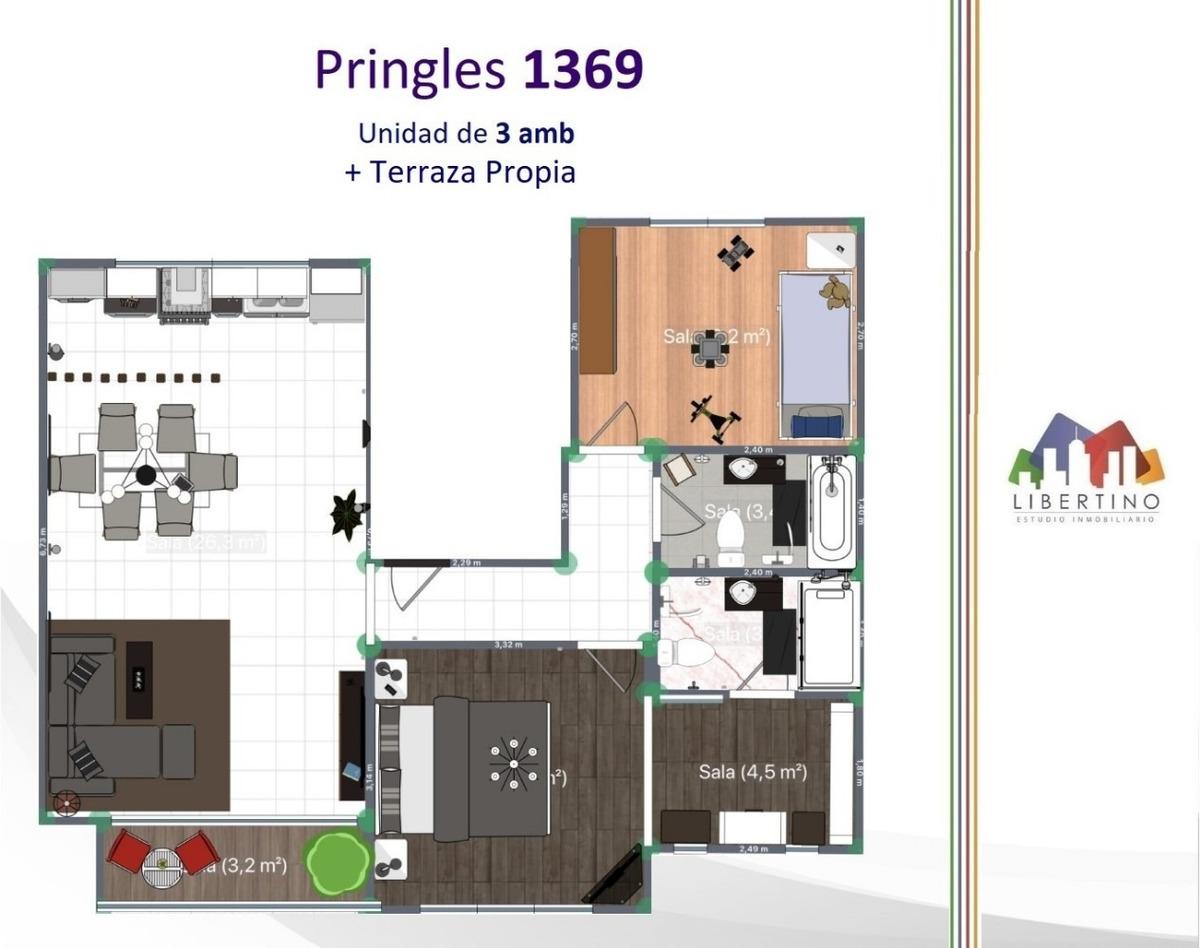 piso de 3 amb con terraza propia y cochera // pringles 1369