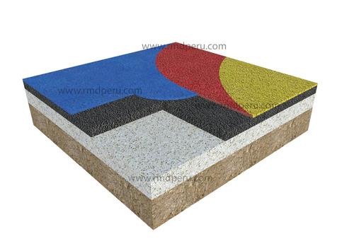 piso de caucho continuo vaciado in situ anti-impacto