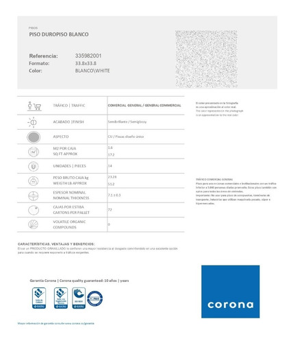 piso duropiso blanco 33.8*33.8 caja *1.6mt constructor coron