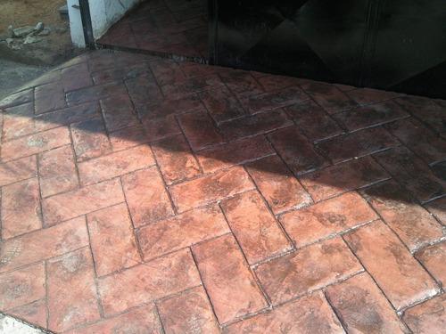 piso estampado y alquiler  de moldes  microcemento