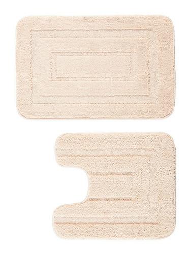 piso felpudo engomado 2pz 40x60/40x45 beige / mallbits