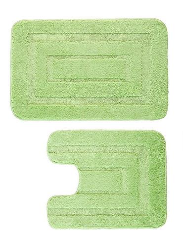 piso felpudo engomado 2pz 40x60/40x45 verde / mallbits