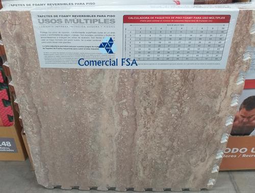 piso foamy reversible tipo madera y marmol 4 piezas
