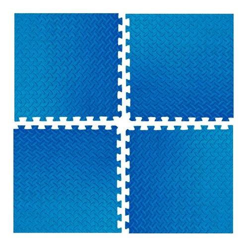 piso goma eva bebe azul encastrable alfombra x4 piezas