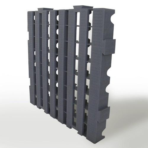 piso plástico palete 40x40 x 4,5. pallets. cinza. em estoque