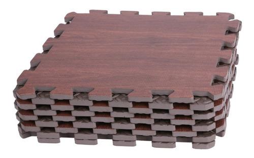 piso tatami goma eva madera marron oscuro 60x60cm set 4 unid
