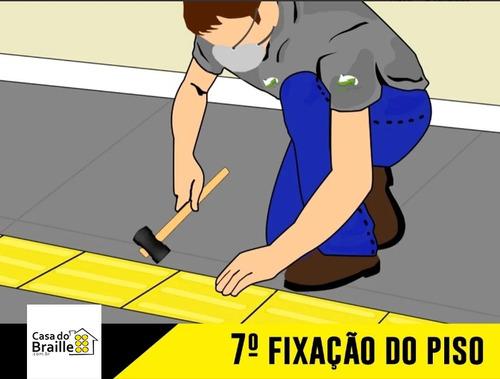 piso tátil alerta pvc 25x25 preto 64 pçs 4m linear