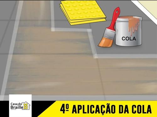 piso tátil direcional pvc 25x25 amarelo 64 pçs 4 m linear