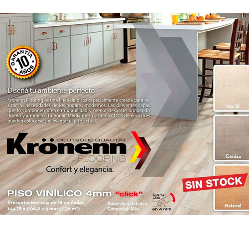 piso vinilico click alto transito 4mm kronenn madera pvc m2