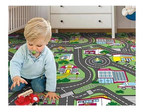 piso vinilico en rollo 2.2mm infantil pista de autos