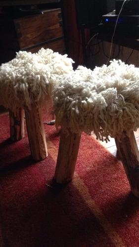 piso/puff/taburete de lana de oveja