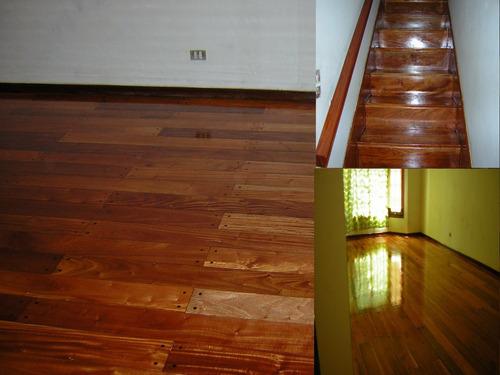 pisos de madera pulido y plastificado