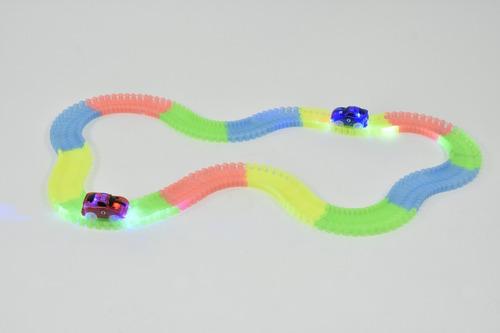 pista auto magnific tracks luces led 240 piezas flexible!